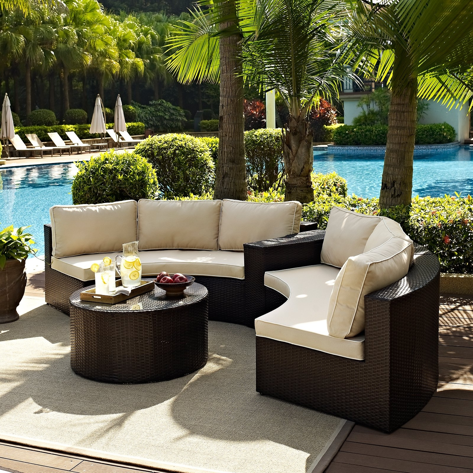 Most Current Crosley Catalina Outdoor Wicker Round Sectional Sofa With Coffee With Regard To Resin Conversation Patio Sets (View 9 of 20)