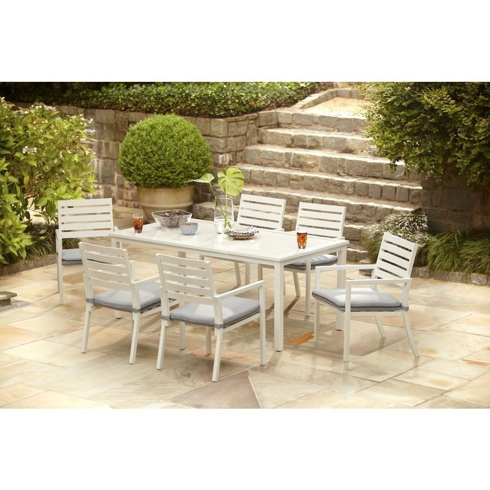 Most Current Dot Patio Conversation Sets Intended For Hampton Bay Blue Springs 7 Piece Patio Dining Set With Blue Dot (View 14 of 20)