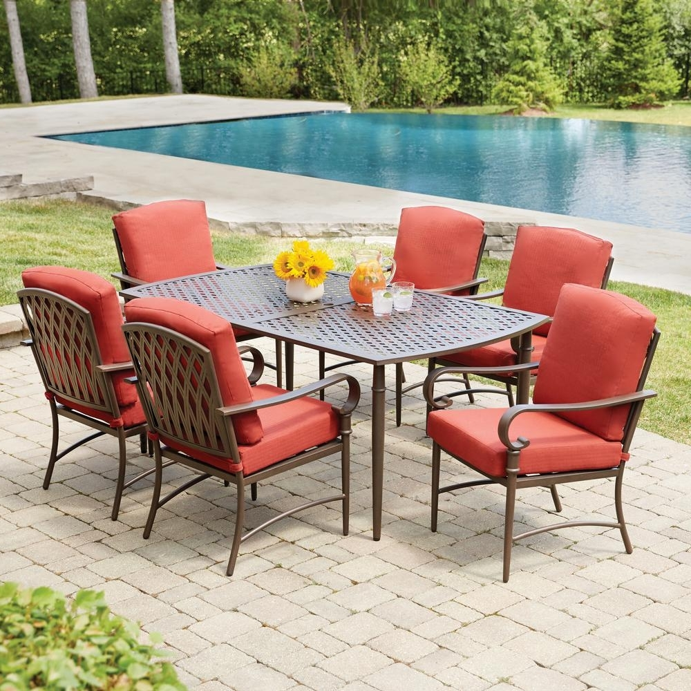 Most Current Hampton Bay Oak Cliff 7 Piece Metal Outdoor Dining Set With Chili Pertaining To Patio Conversation Sets With Dining Table (View 13 of 20)