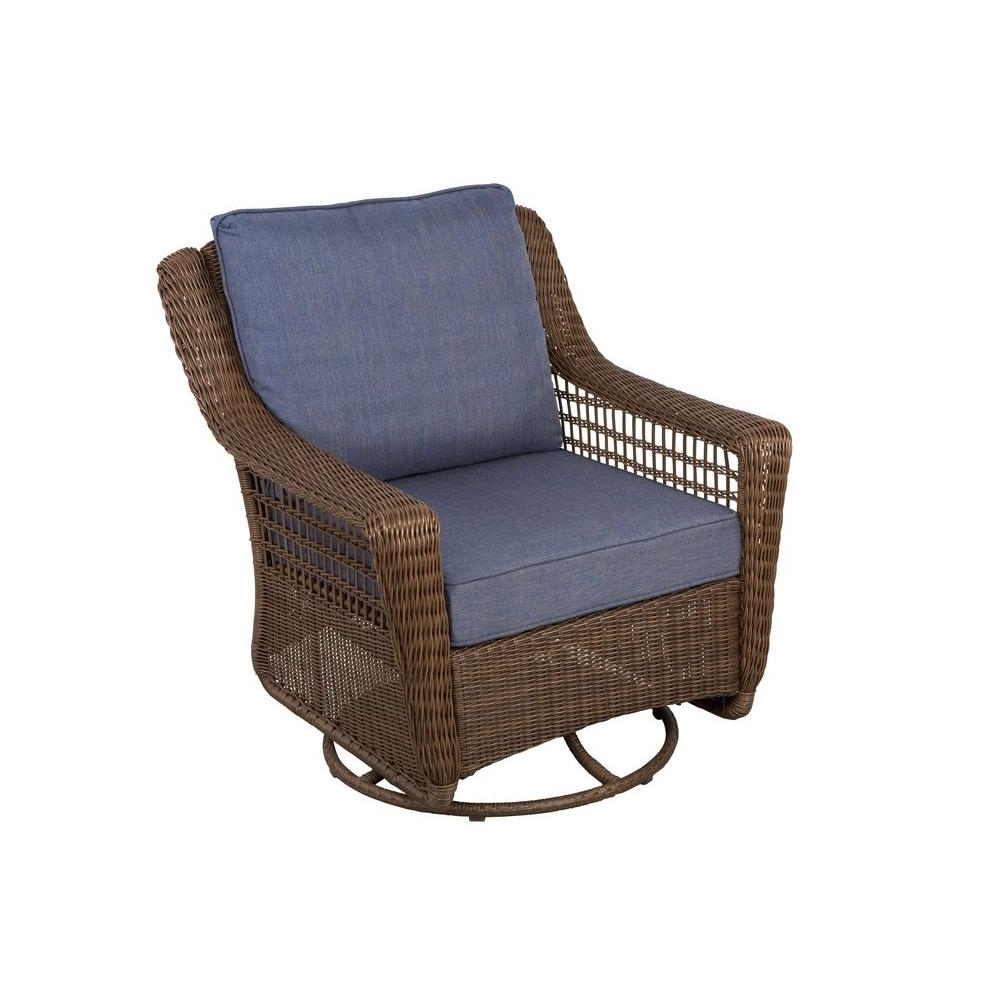 Most Current Hampton Bay Spring Haven Brown All Weather Wicker Outdoor Patio Swivel  Rocking Chair With Sky Blue Cushions With Regard To All Weather Patio Rocking Chairs (View 8 of 20)