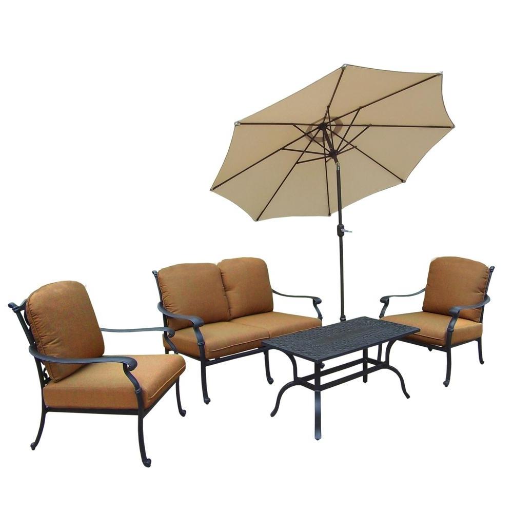 Most Current Hampton Cast Aluminum 6 Piece Patio Deep Seating Set With Sunbrella In Cast Aluminum Patio Conversation Sets (View 11 of 20)