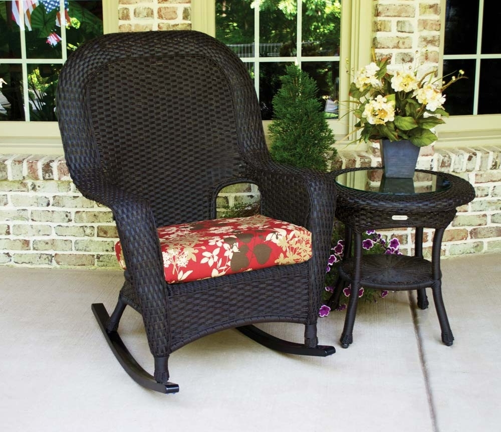 Most Current Outdoor Patio Rocking Chairs Intended For Outdoor Wicker Rocking Chair Set – Outdoor Designs (View 7 of 20)