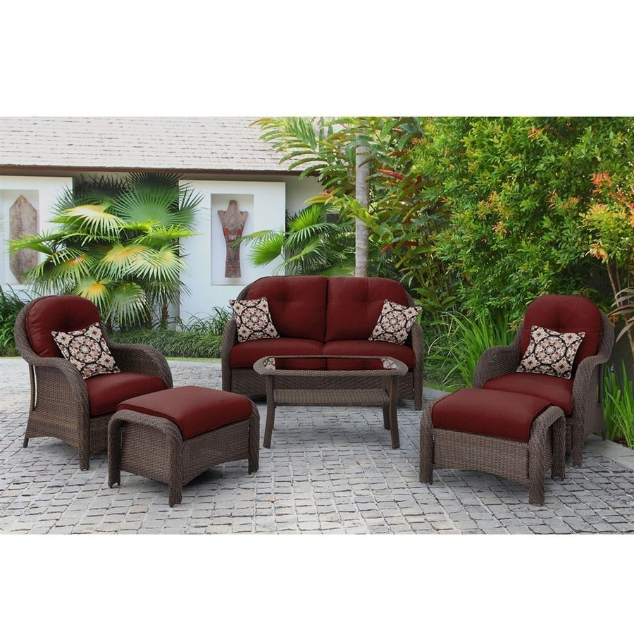 Most Current Patio Conversation Sets With Cushions Inside Shop Hanover Outdoor Furniture Newport 6 Piece Wicker Frame Patio (View 7 of 20)
