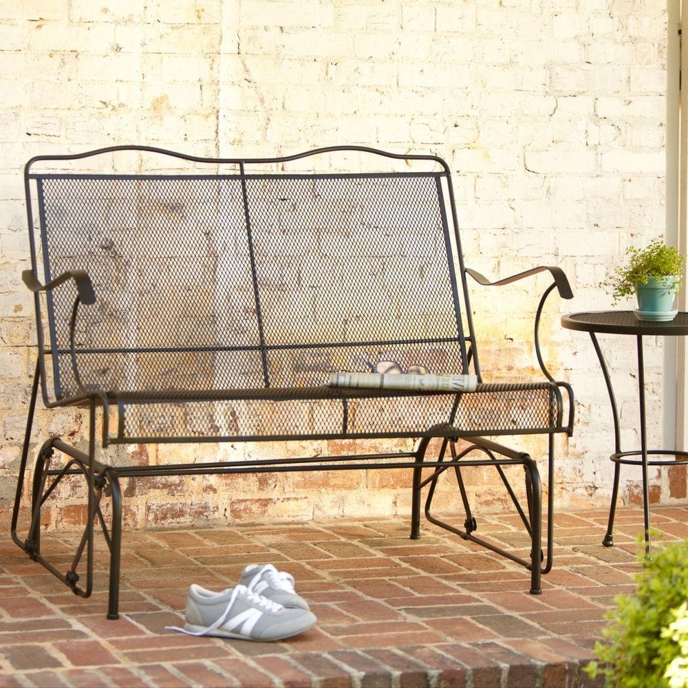 Most Current Patio Furniture Rocking Benches Throughout Hampton Bay Jackson Patio Loveseat Glider 7894000 0105157 – The Home (View 5 of 20)