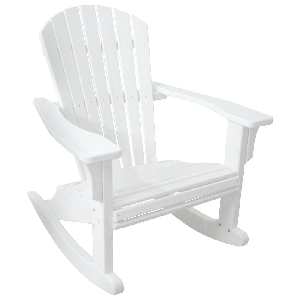 Most Current Plastic Patio Rocking Chairs Inside Polywood Seashell White Patio Rocker Shr22wh – The Home Depot (View 17 of 20)