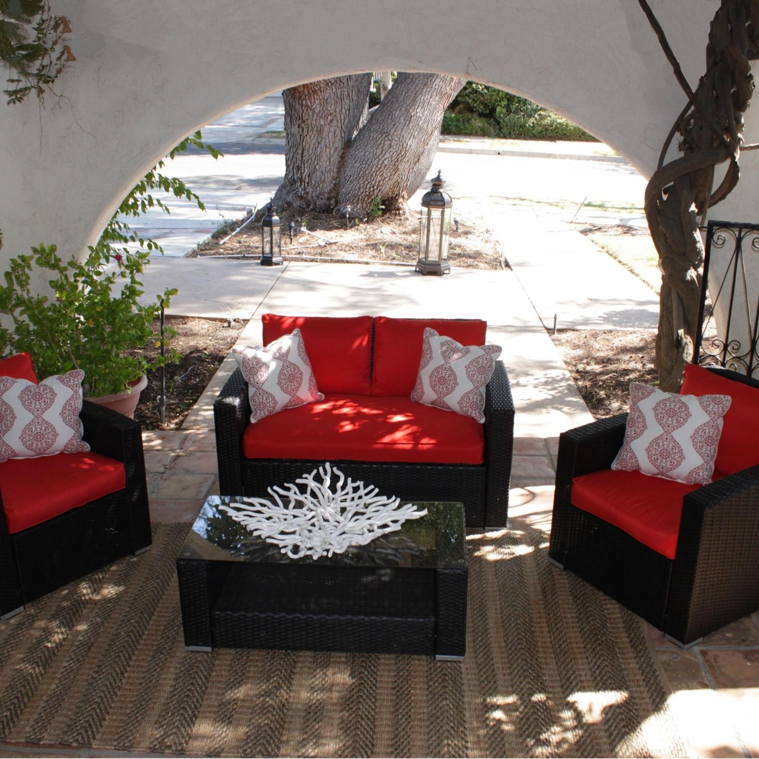 Most Current Red Patio Conversation Sets With Regard To Caluco Key West 4 Person Resin Wicker Patio Conversation Set – Dark (View 3 of 20)