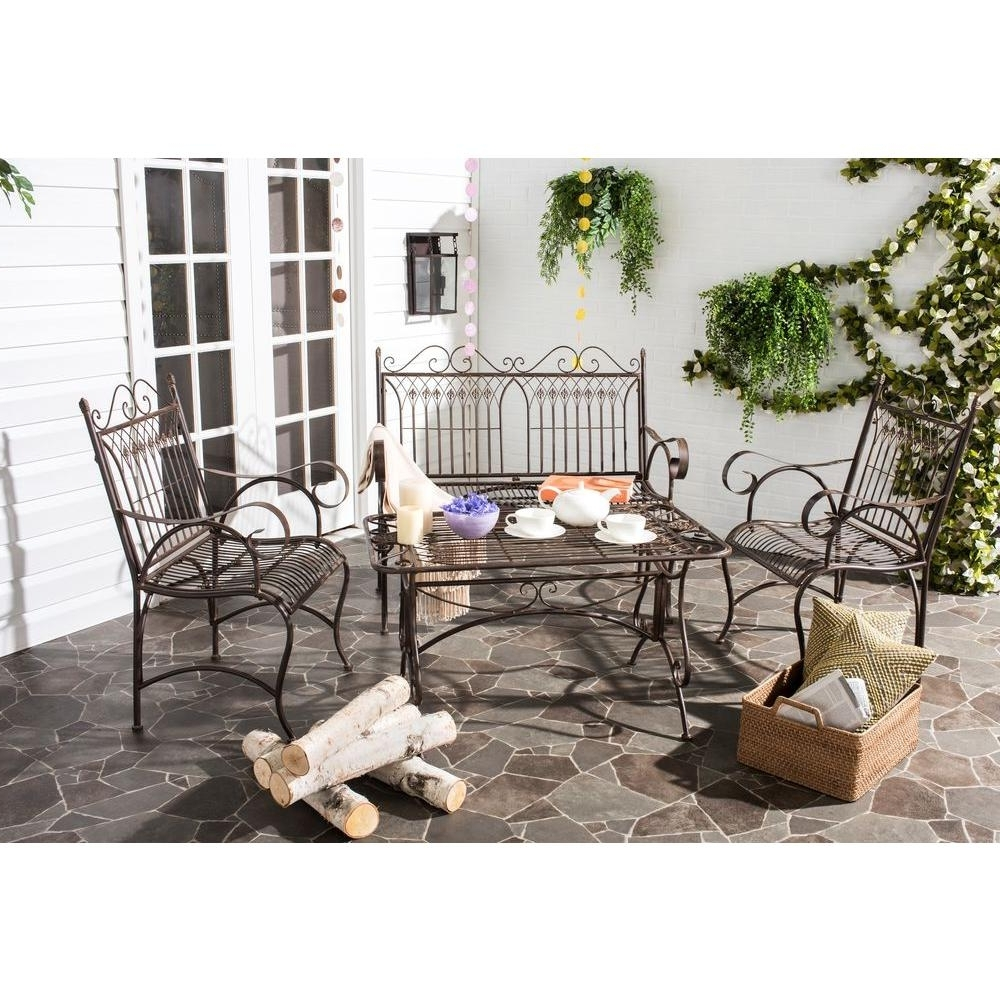 Most Current Safavieh Leah Rustic Brown 4 Piece All Weather Iron Patio Throughout Iron Patio Conversation Sets (View 9 of 20)