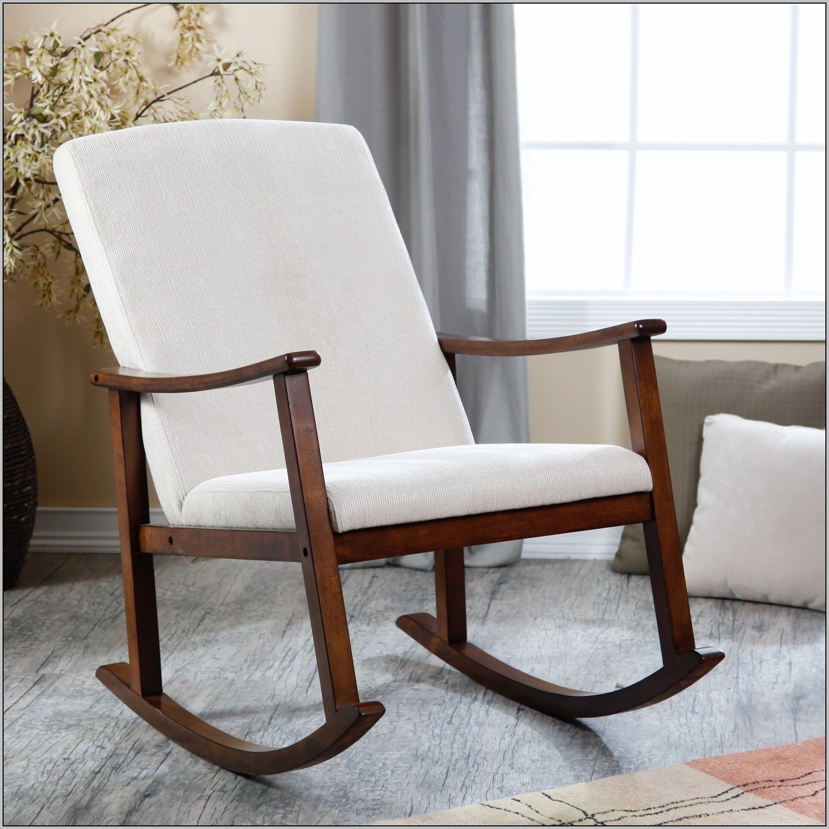 Most Current Upholstered Rocking Chairs Pertaining To Furniture Upholstered Rocking Chair And Ottoman Antique Chairs (View 8 of 20)