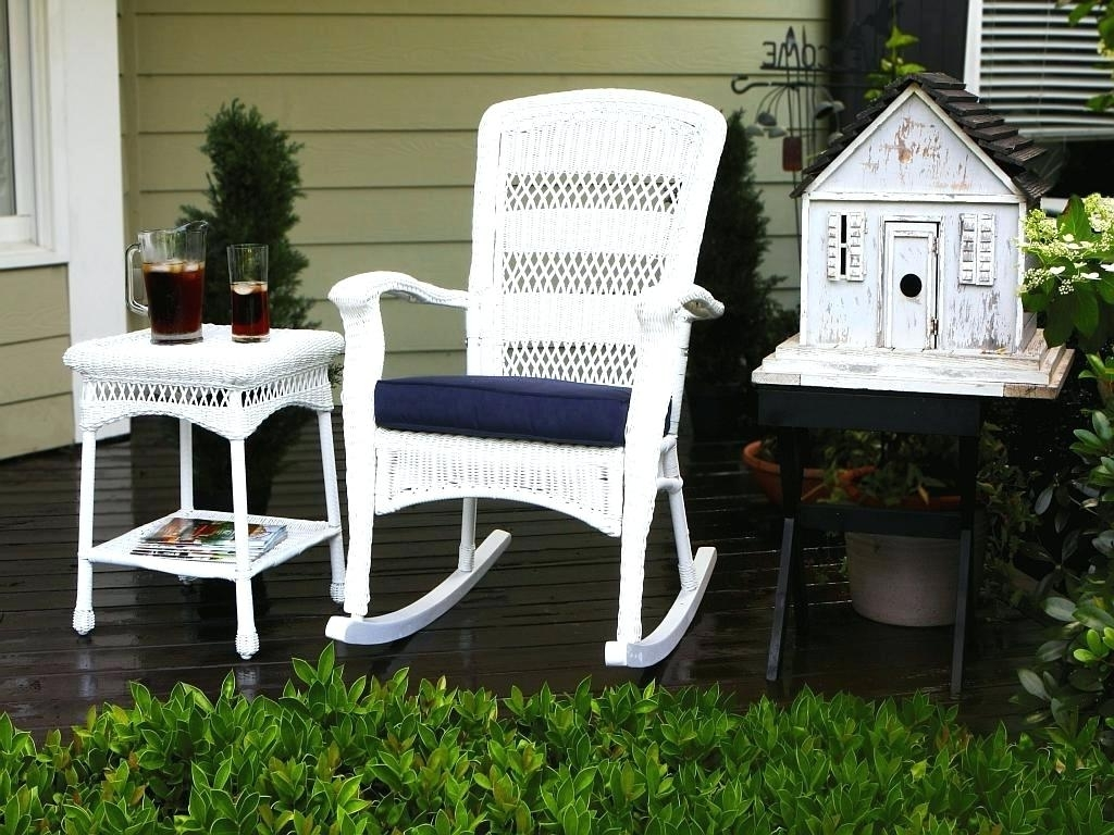 Most Popular All Weather Patio Rocking Chairs Intended For Outdoor Wicker Rocking Chairs Recliner Chair Interiors 21095Rc All (View 9 of 20)