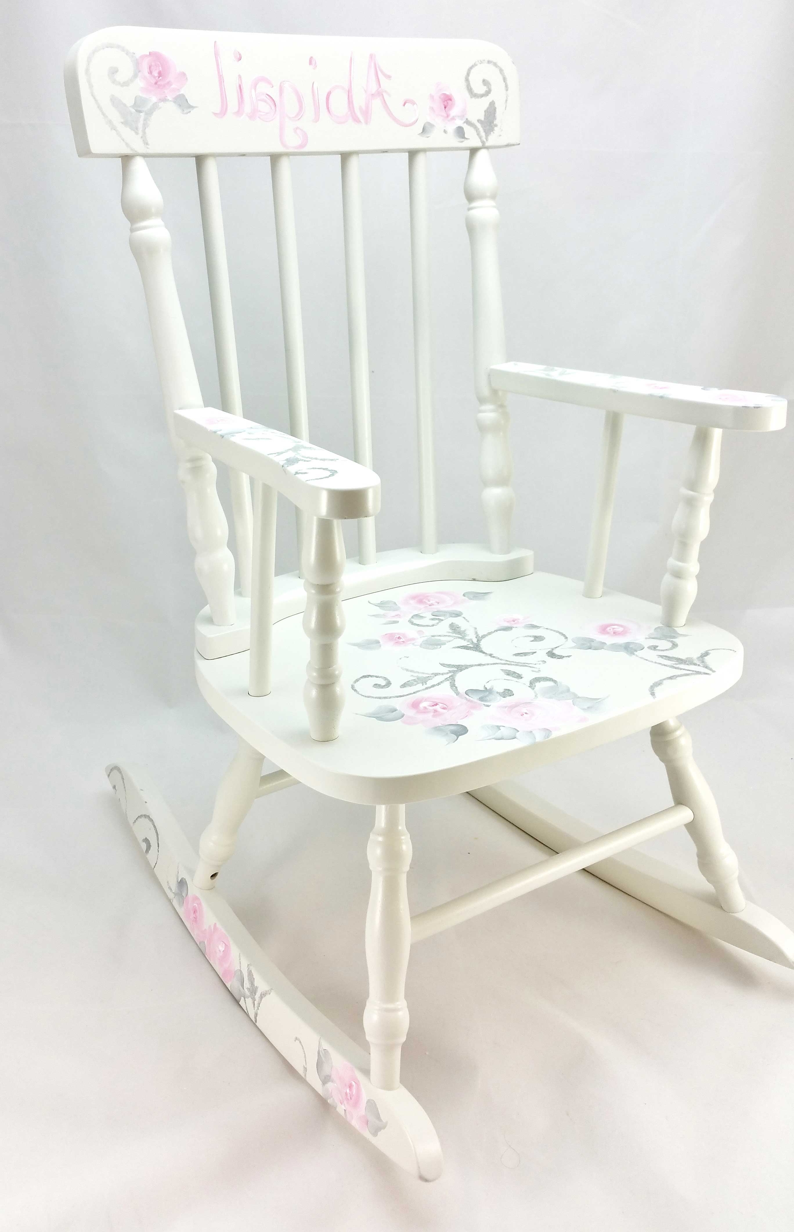 Most Popular Damask And Roses Personalized Rocking Chair – Purple Pumpkin Gifts With Rocking Chairs At Roses (View 7 of 20)