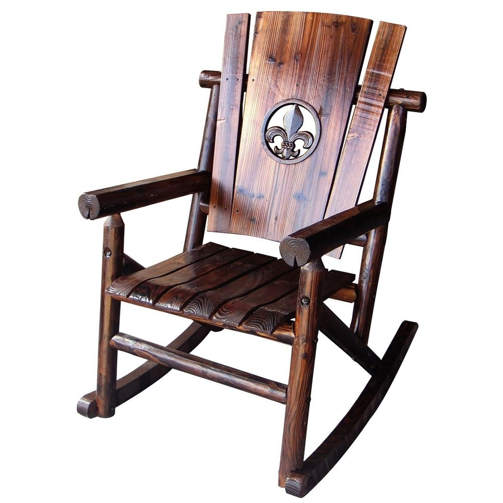 Most Popular Leigh Country Char Log Patio Rocking Chair With Fleur De Lis Tx Intended For Char Log Patio Rocking Chairs With Star (View 13 of 20)