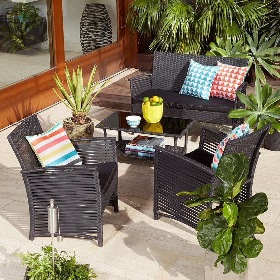 Most Popular Modern Patio Conversation Sets For Modern Patio Decoration With Black Wicker Look Patio Conversation (View 12 of 20)