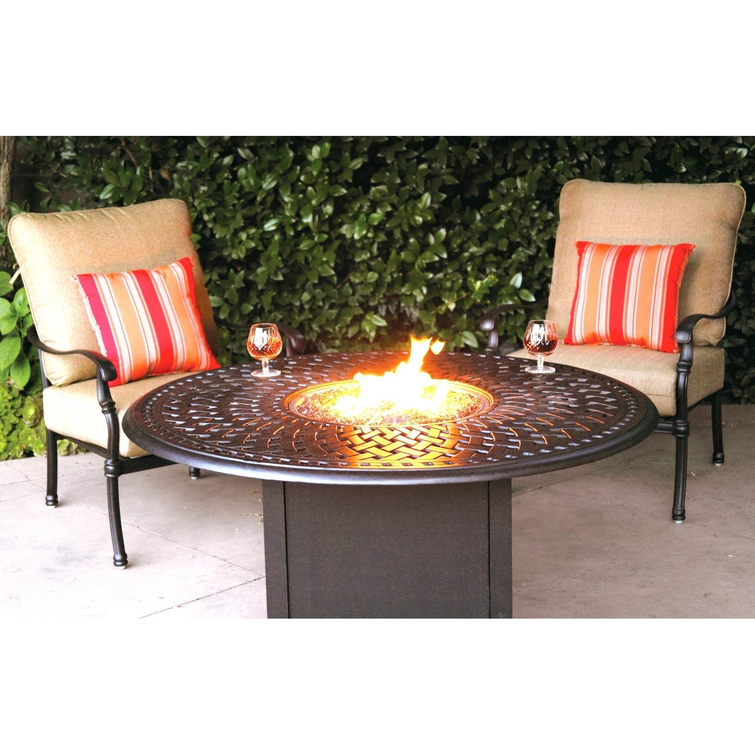 Most Popular Patio Conversation Sets With Gas Fire Pit Pertaining To Darlee Florence 3 Piece Aluminum Patio Fire Pit Seating Set (View 12 of 20)