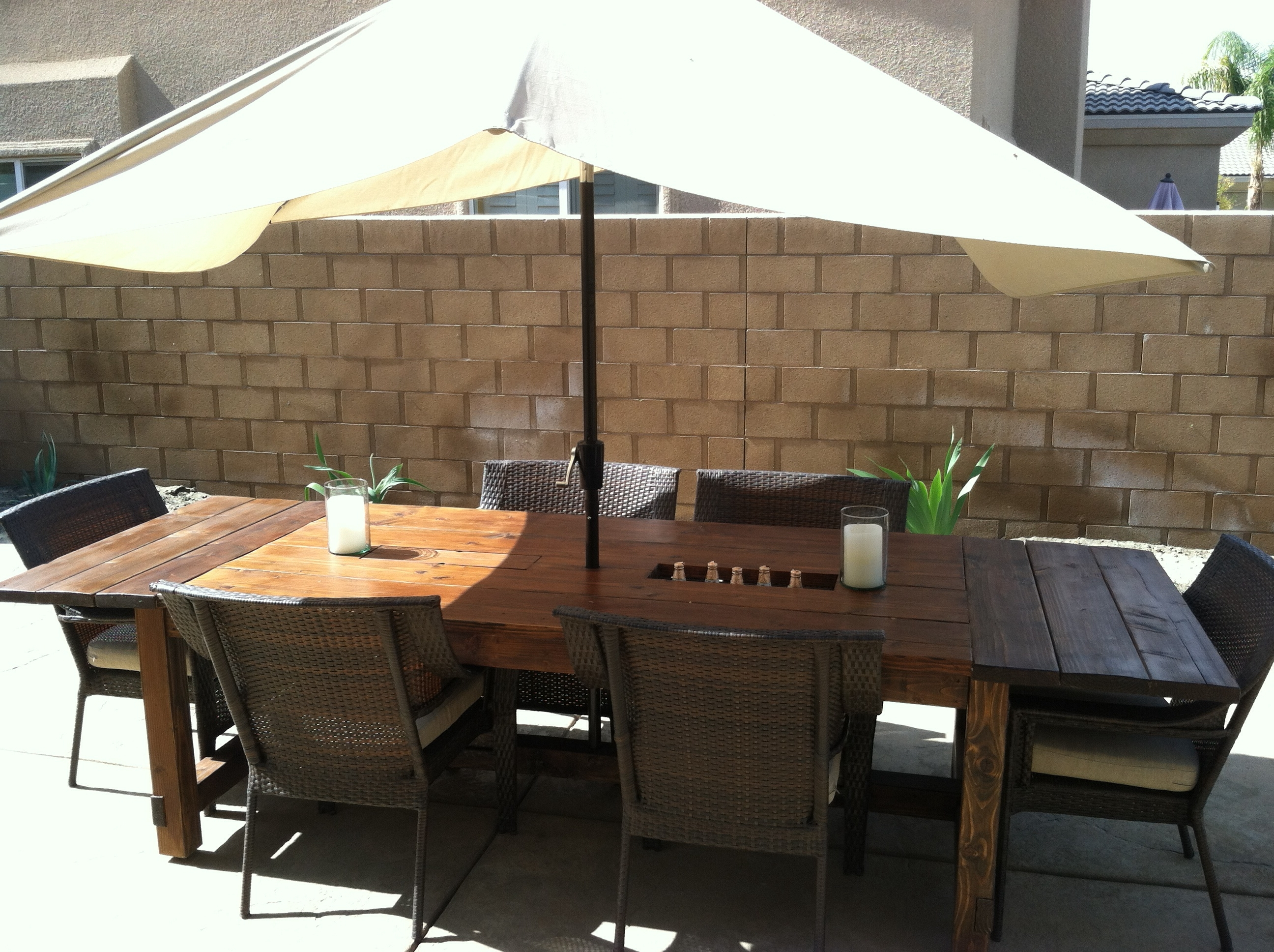 Most Popular Patio Conversation Sets With Umbrella Regarding Patio : Patio Table Umbrella Patio Table (View 6 of 20)