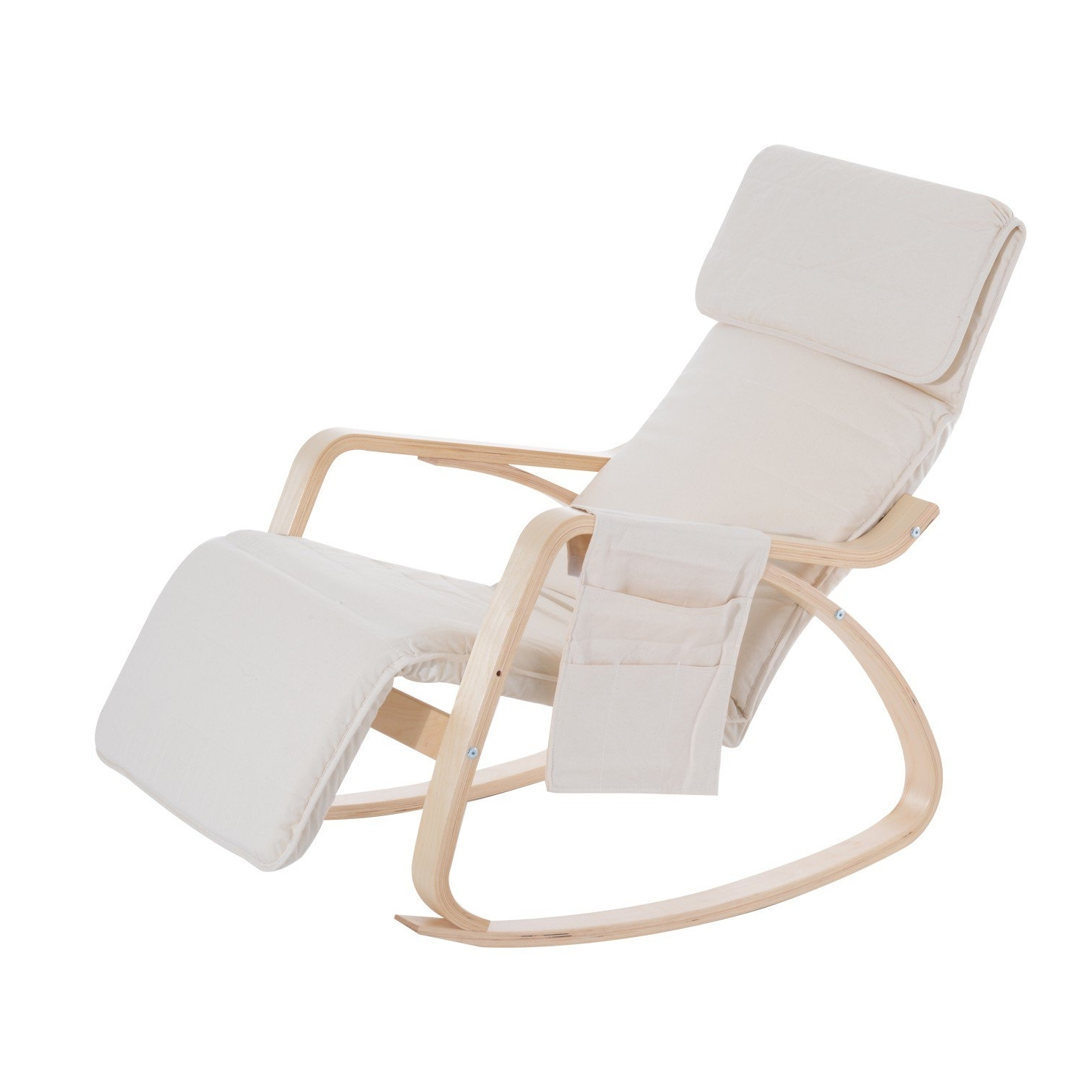 Most Popular Rocking Chairs With Footrest Pertaining To Homcom Rocking Chair W/adjustable Footrest & Side Pocket Beige (View 5 of 20)
