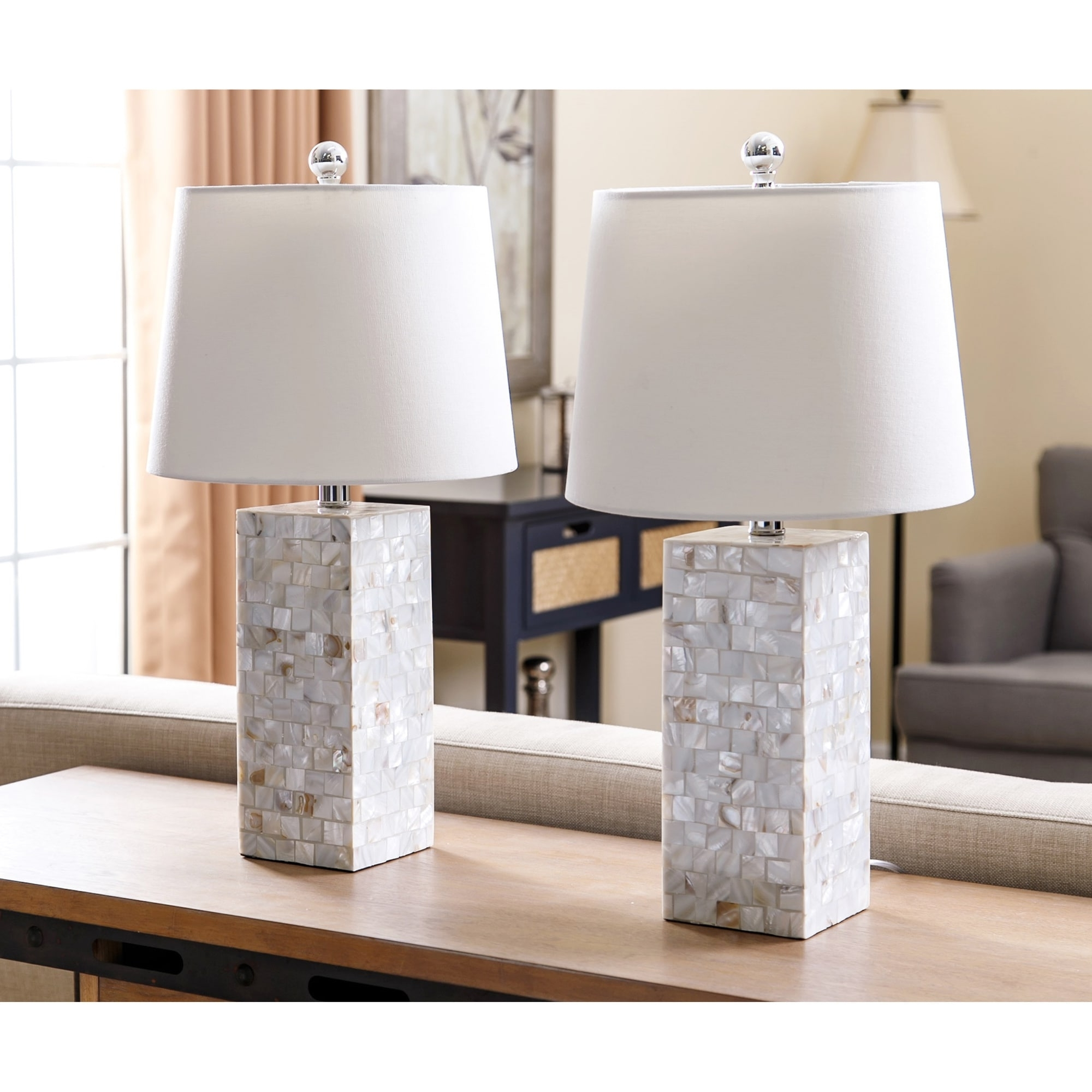 Most Popular Shop Abbyson Mother Of Pearl Square Table Lamp (set Of 2) – On Sale Regarding Set Of 2 Living Room Table Lamps (View 11 of 20)
