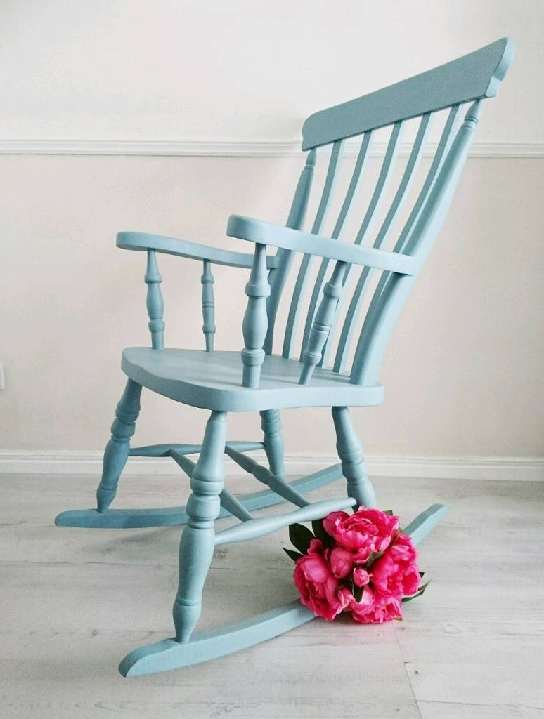 Most Popular Upcycled Rocking Chairs Pertaining To Rocking Chair, Nursery Chair, Blue Chair, Farmhouse Style, Upcycled (View 10 of 20)