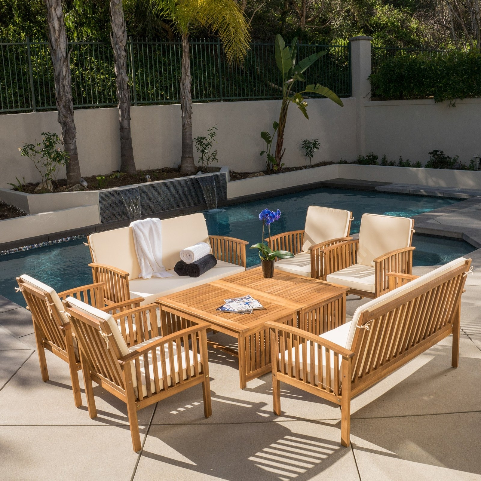Most Popular Wood Patio Furniture Conversation Sets Within Hayak 8 Piece Conversation Set – Walmart (View 9 of 20)