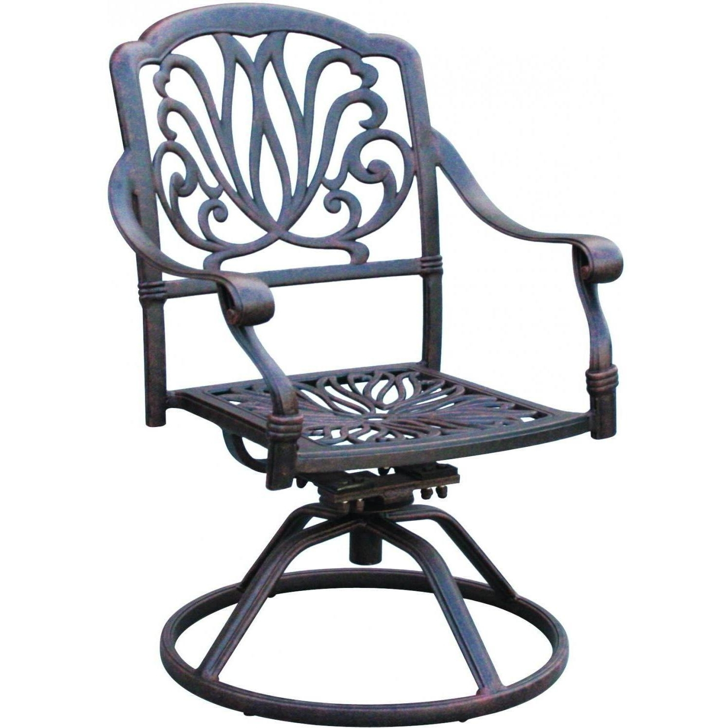 Most Recent Aluminum Patio Rocking Chairs Pertaining To Darlee Elisabeth Cast Aluminum Patio Swivel Rocker Dining Chair (View 10 of 20)
