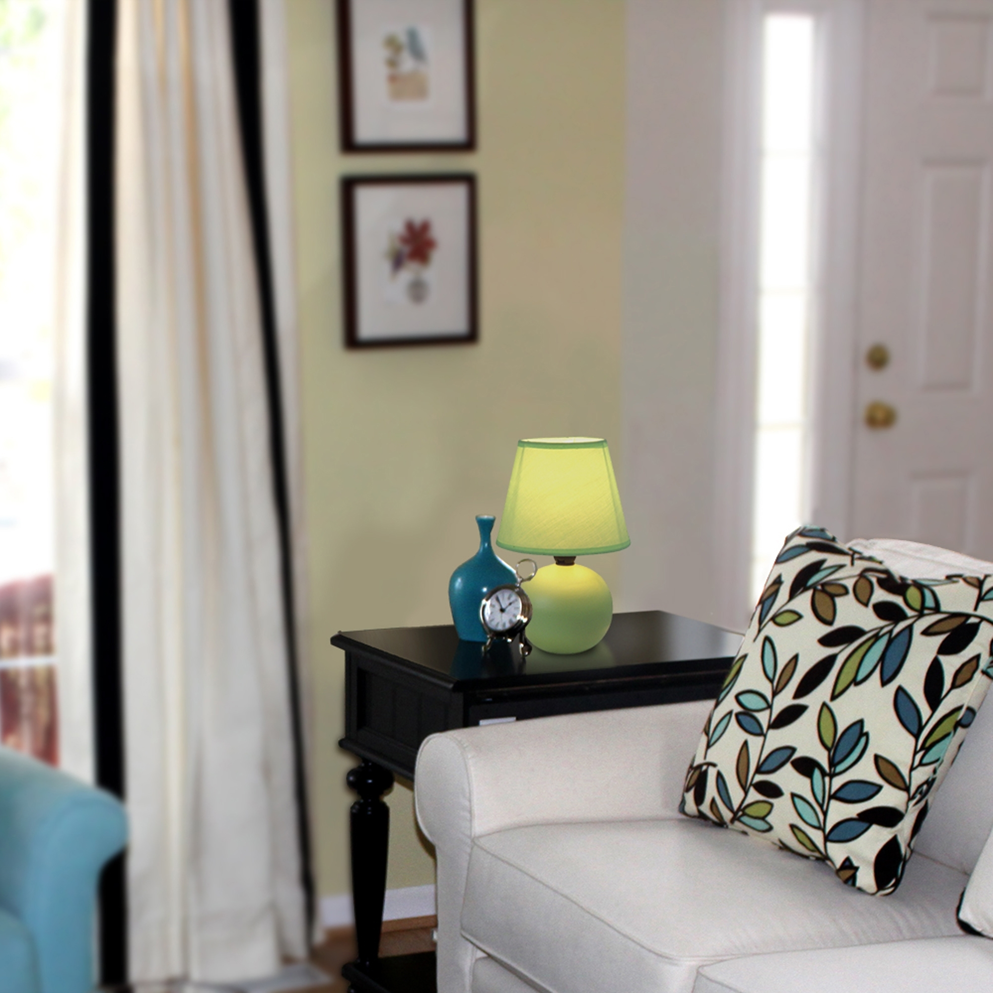 Most Recent Ceramic Living Room Table Lamps Within Simple Designs Mini Ceramic Globe Table Lamp, Black – Walmart (View 16 of 20)