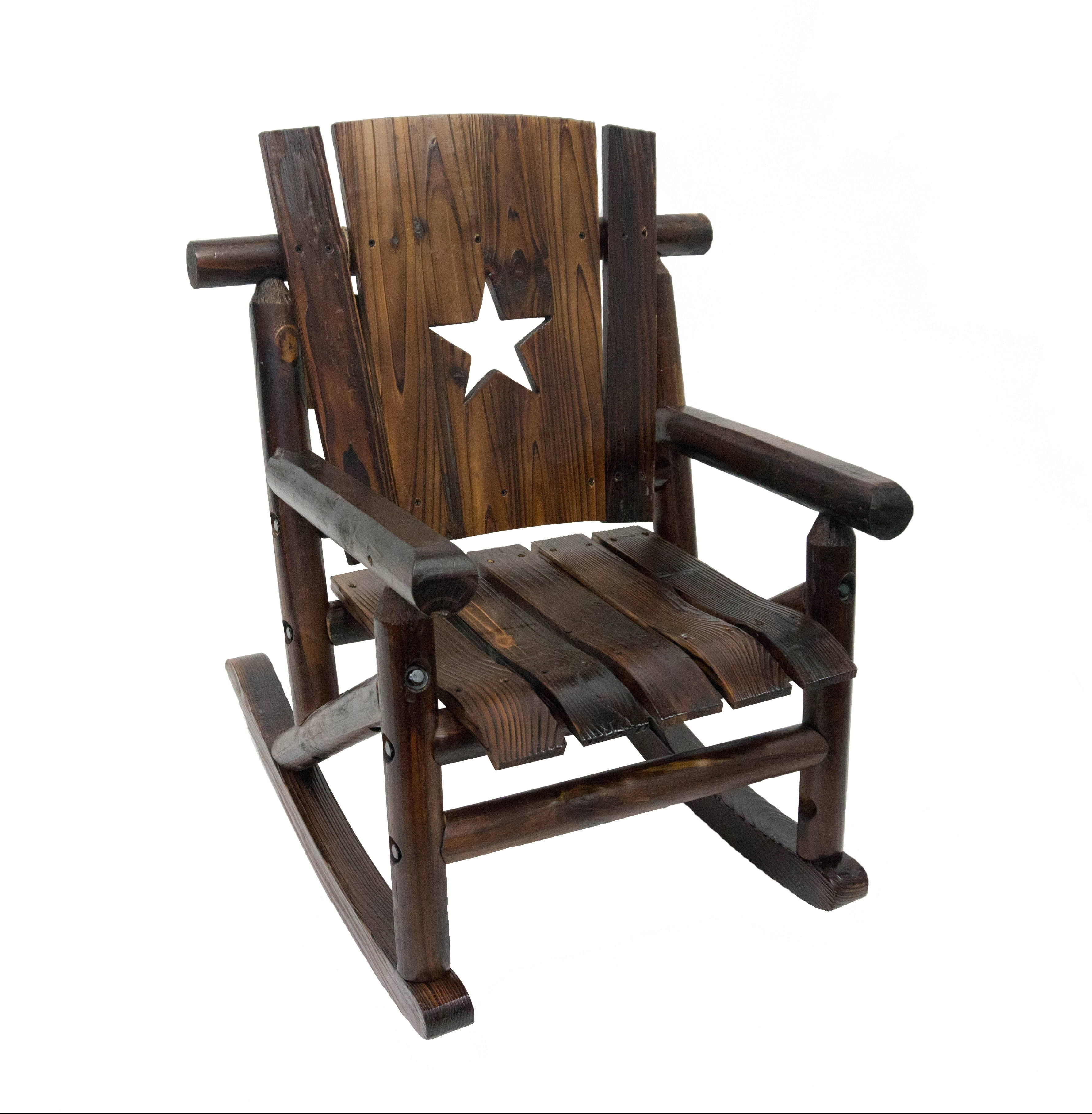 Most Recent Char Log Furniture Designs Junior Lil Cut Out Star Single Rocking For Char Log Patio Rocking Chairs With Star (View 14 of 20)
