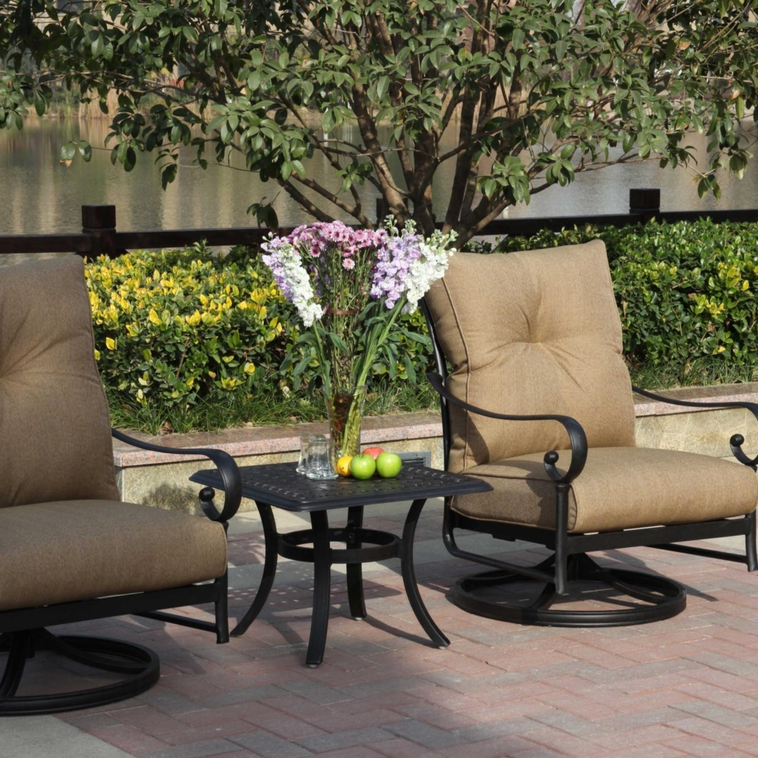 Most Recent Darlee Santa Anita 3 Piece Aluminum Patio Conversation Seating Set Within Patio Conversation Sets With Rockers (View 14 of 20)