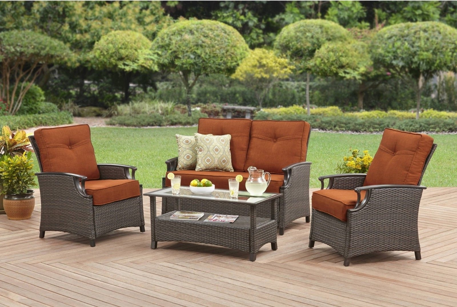 Most Recent Ebay Patio Conversation Sets For 4 Piece Conversation Patio Furniture Set Wiker Sofa Outdoor Loveseat (View 2 of 20)