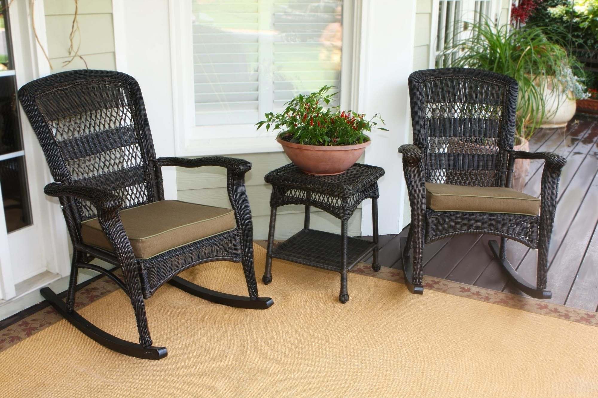 Most Recent Fancy Wicker Outdoor Chair Design Inspiration : Remarkable Dark Intended For Outdoor Rocking Chairs With Table (View 11 of 20)