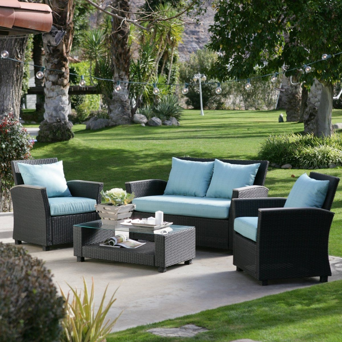 Most Recent Hayneedle Patio Conversation Sets Within $1300 Delphi All Weather Chocolate Wicker Conversation Set – Outdoor (View 16 of 20)