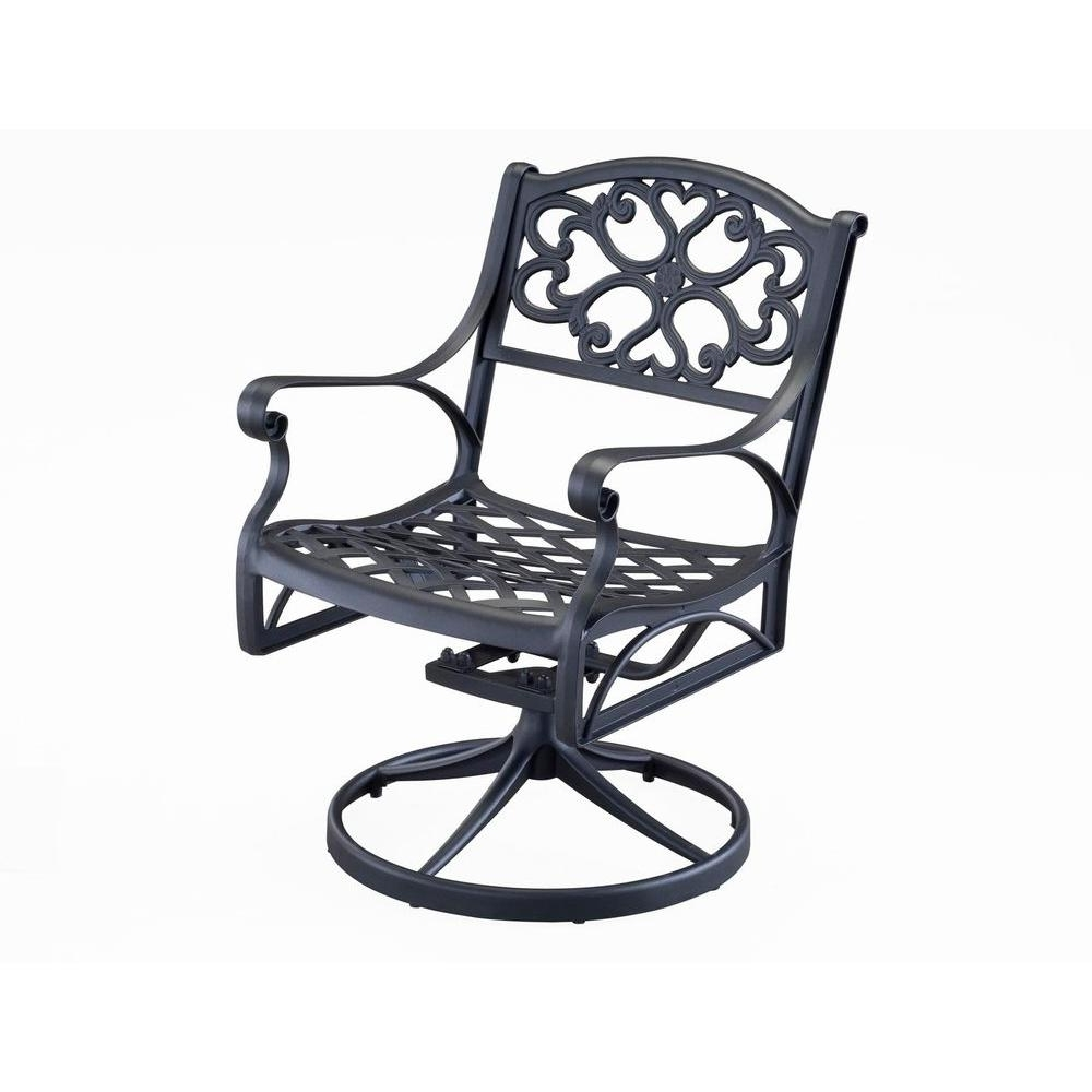 Most Recent Home Styles Biscayne Black Swivel Patio Dining Chair 5554 53 – The With Aluminum Patio Rocking Chairs (View 12 of 20)