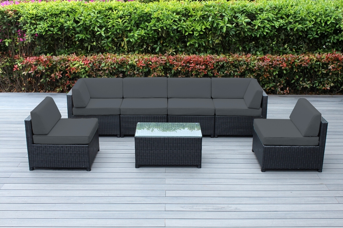 Most Recent Ohana 7 Piece Outdoor Wicker Patio Furniture Sectional Conversation With Gray Patio Conversation Sets (View 16 of 20)