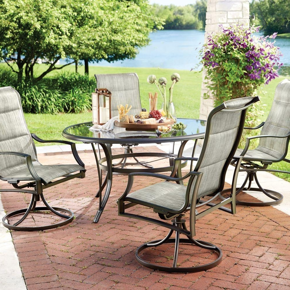 Most Recent Patio Conversation Dining Sets Pertaining To Hampton Bay Statesville 5 Piece Padded Sling Patio Dining Set With (View 8 of 20)