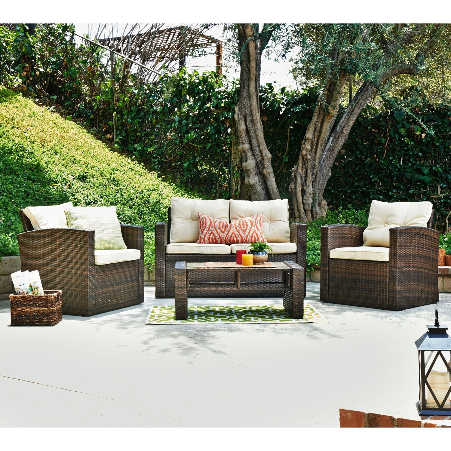 Most Recent Patio Conversation Sets At Target Pertaining To Thy Hom Roatan Tan 4 Piece Outdoor Wicker Conversation Set (View 8 of 20)