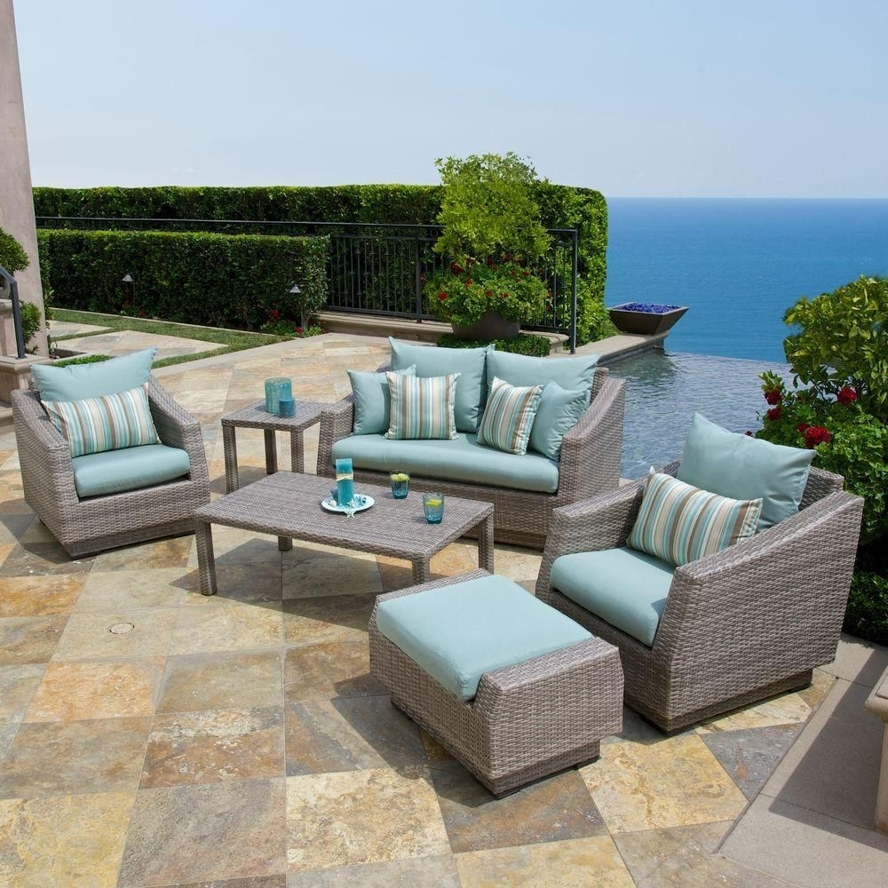 Most Recent Patio Conversation Sets With Blue Cushions For Rst Brands Cannes 6 Piece Patio Seating Set With Bliss Blue Cushions (View 7 of 20)