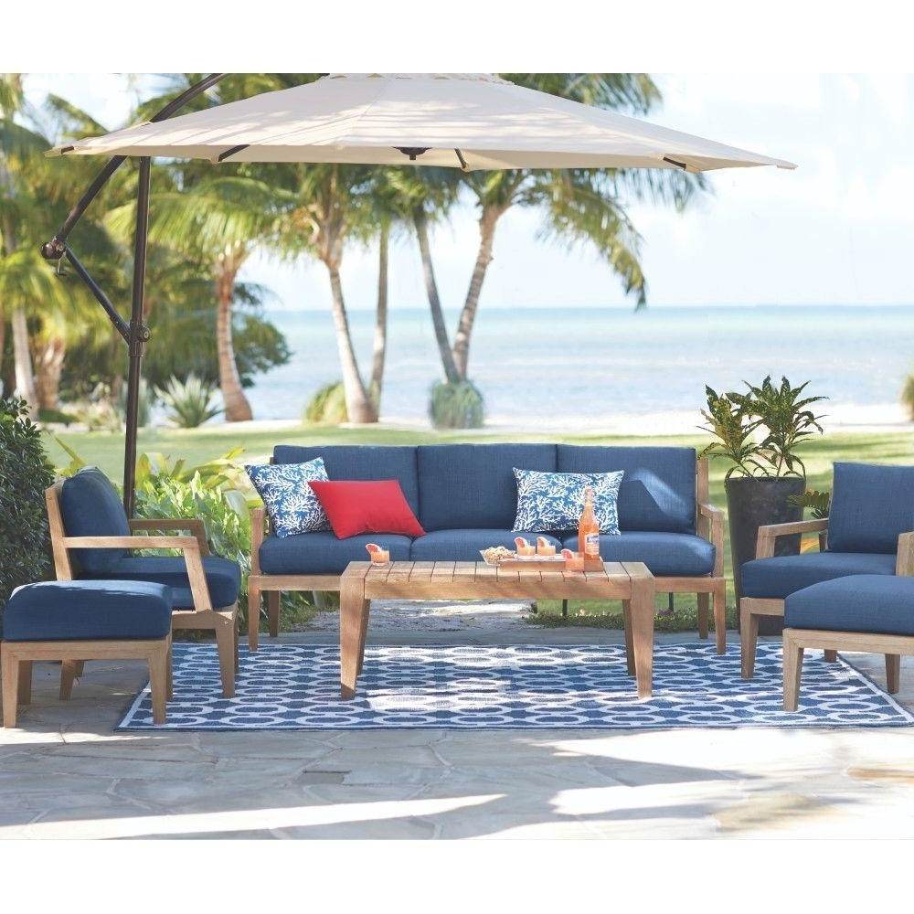 Most Recent Patio Conversation Sets With Umbrella In Home Decorators Collection Bermuda 6 Piece All Weather Eucalyptus (View 3 of 20)