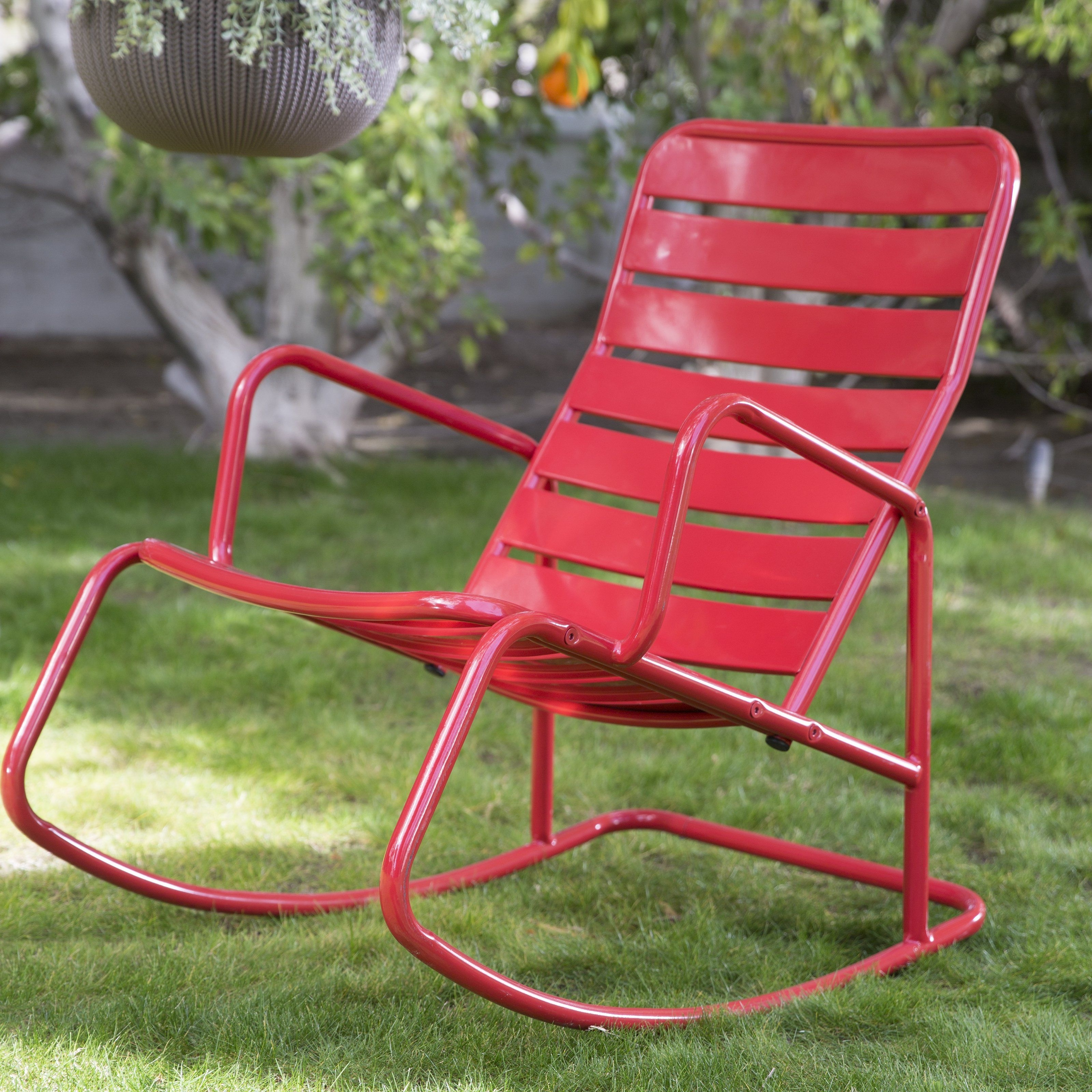 Most Recent Patio Metal Rocking Chairs Throughout Belham Living Adley Outdoor Metal Slat Rocking Chair – Contemporary (View 10 of 20)