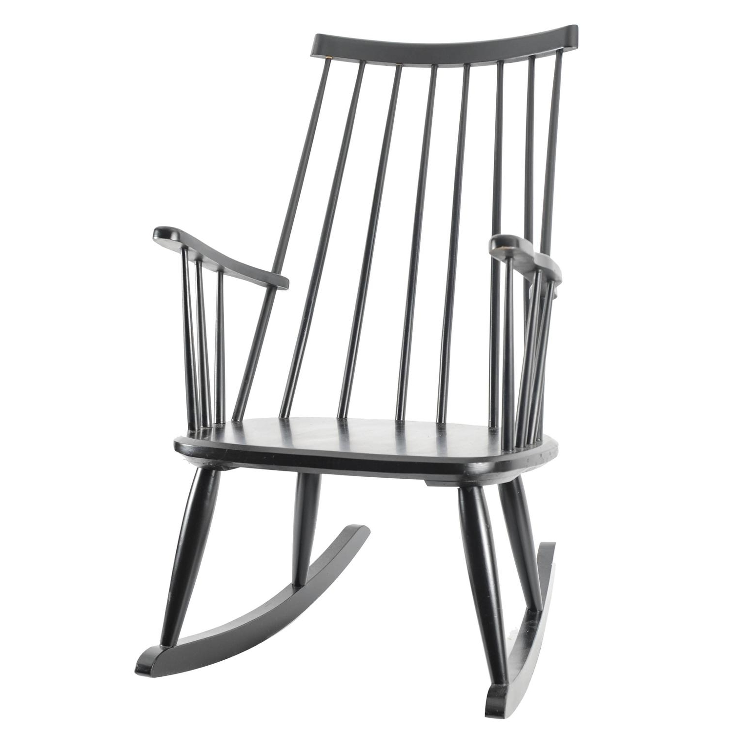 Most Recently Released Black Rocking Chairs Inside Black Scandinavian Modern Rocking Chair Grandessalena Larsson (View 18 of 20)