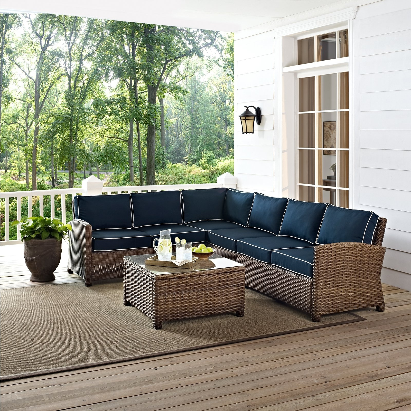 Most Recently Released Crosley Bradenton 5 Piece Outdoor Wicker Sectional Conversation Set Pertaining To Wicker 4pc Patio Conversation Sets With Navy Cushions (View 9 of 20)
