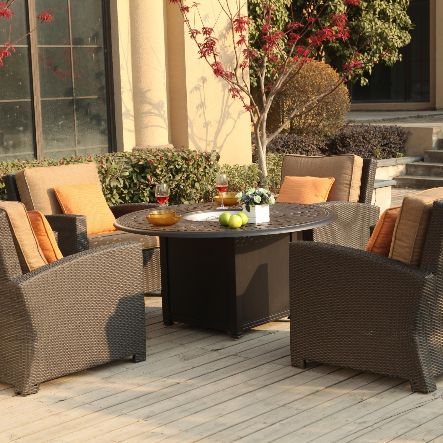 Most Recently Released Darlee Vienna 5 Piece Resin Wicker Patio Fire Pit Set Within Patio Conversation Sets With Fire Pit (View 5 of 20)