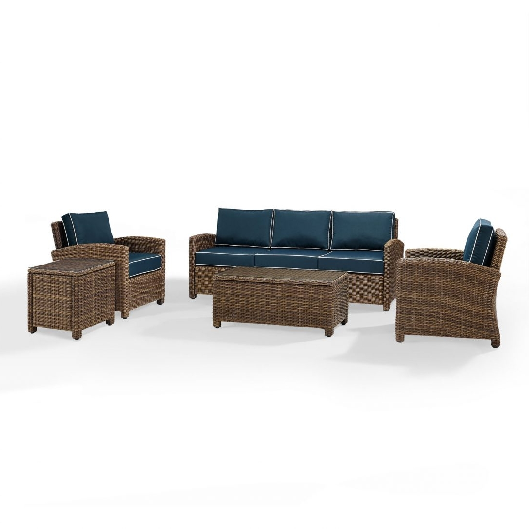 Most Recently Released Outdoor Wicker Sofa Tables Cushion Bodegats Cushions For Bradenton Regarding Wicker 4pc Patio Conversation Sets With Navy Cushions (View 18 of 20)
