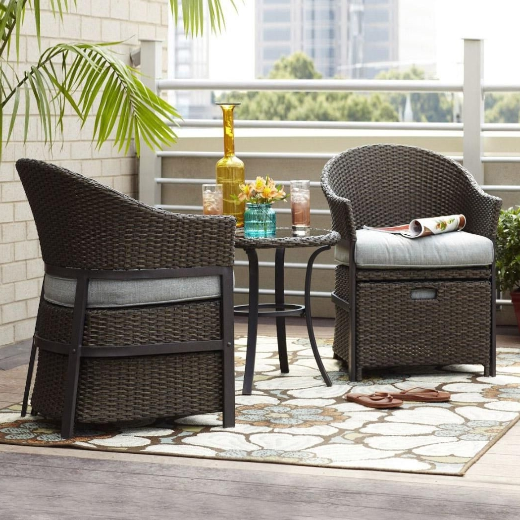 Most Recently Released Patio Conversation Sets For Small Spaces Throughout This 5 Piece Conversation Set In Wicker And Light Blue Cushions Is (View 14 of 20)