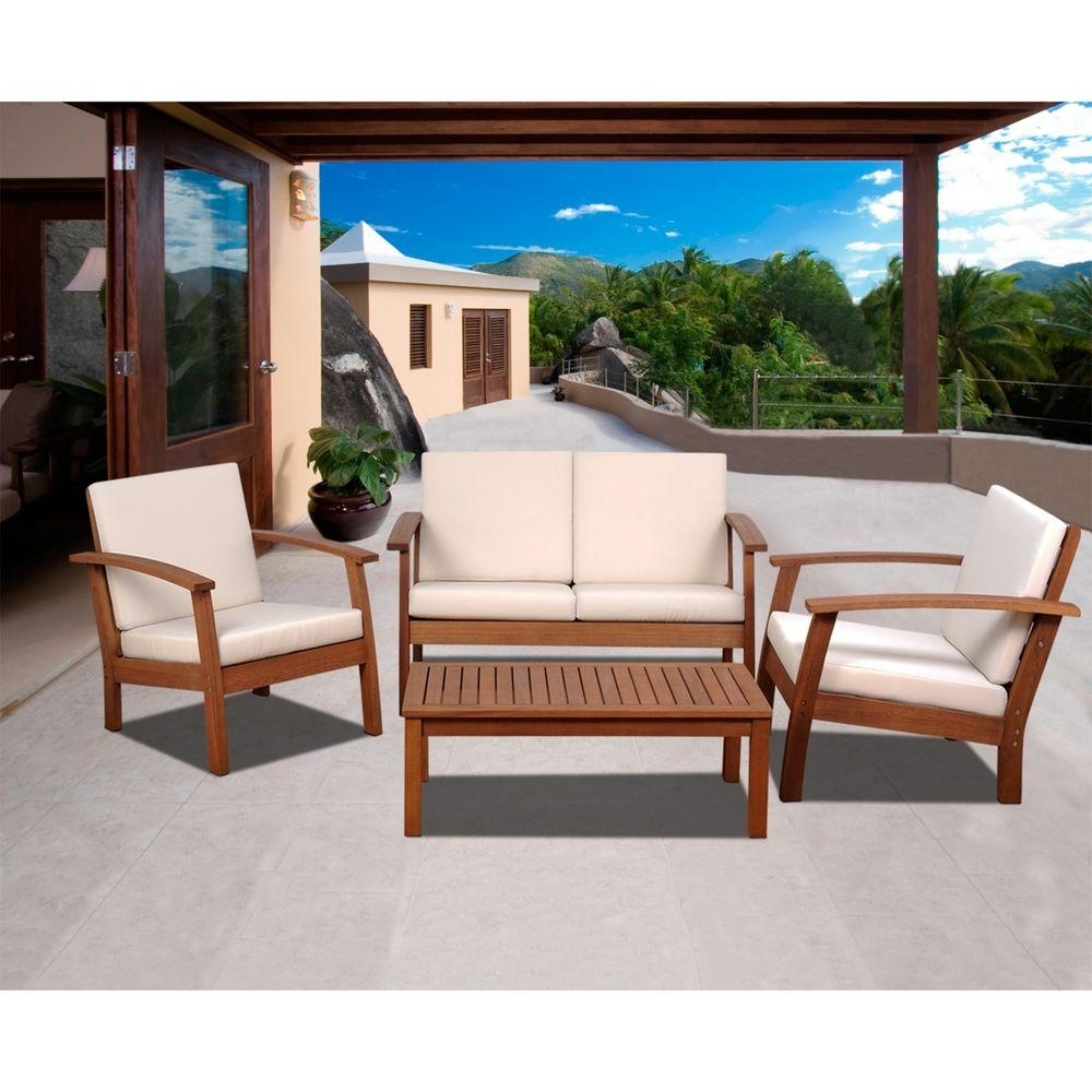 Most Recently Released Patio Conversation Sets Intended For Amazonia Murano 4 Piece Eucalyptus Patio Conversation Set With Off (View 10 of 20)