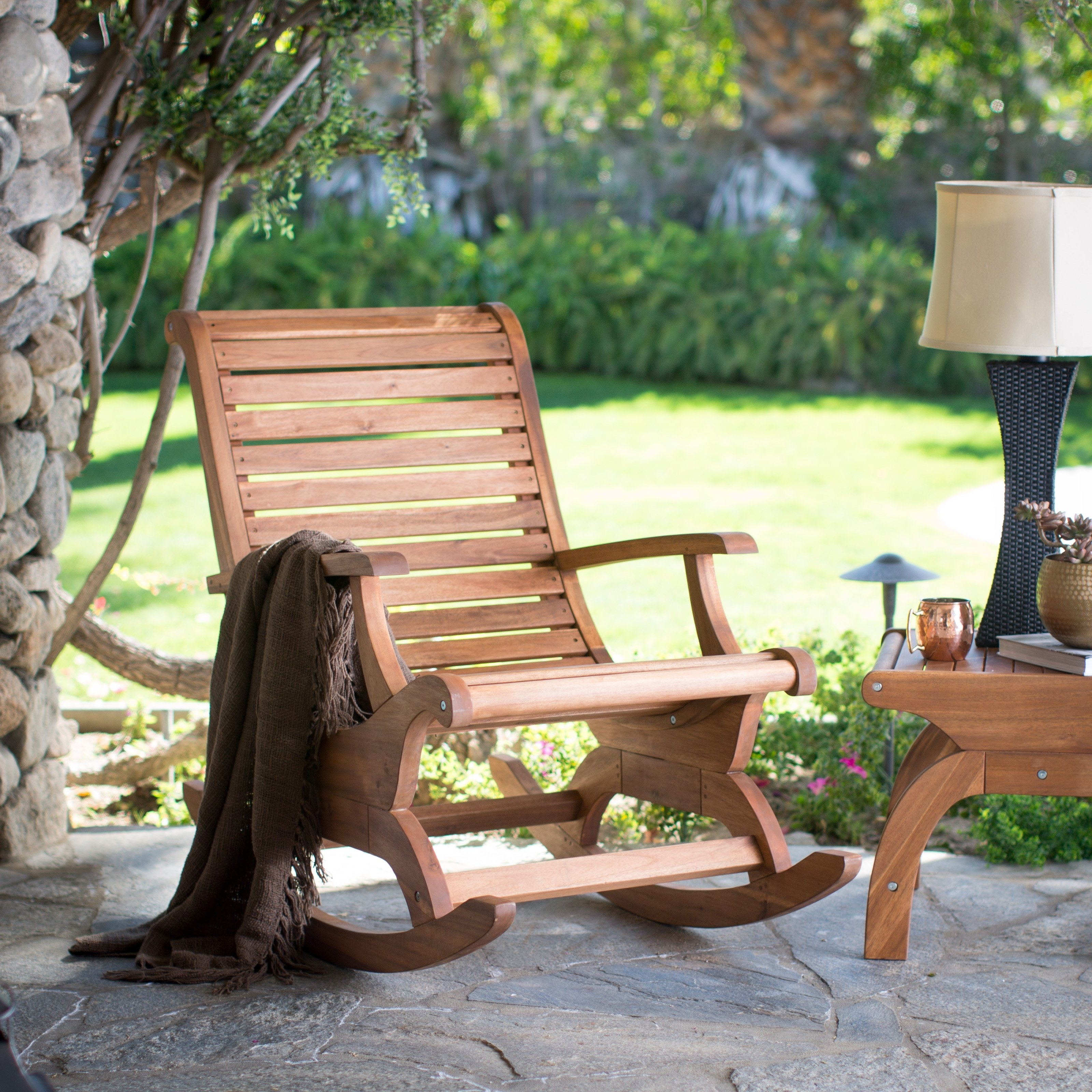 Most Recently Released Patio Furniture Rocking Benches For Belham Living Avondale Oversized Outdoor Rocking Chair – Natural (View 10 of 20)