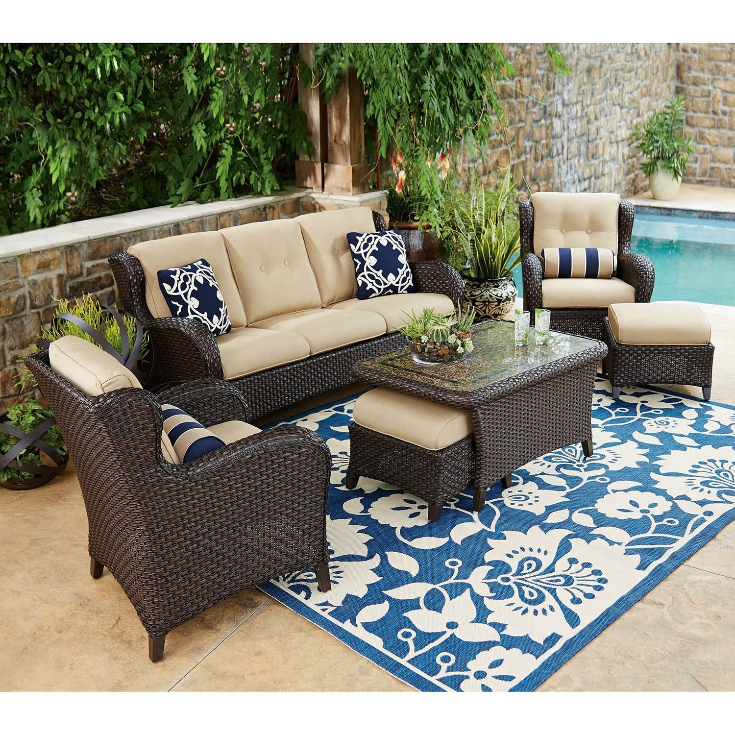 Most Recently Released Patio : Patio Couch Set Fire Pit Inspirational Furniture With Tab Regarding Wayfair Outdoor Patio Conversation Sets (View 7 of 20)