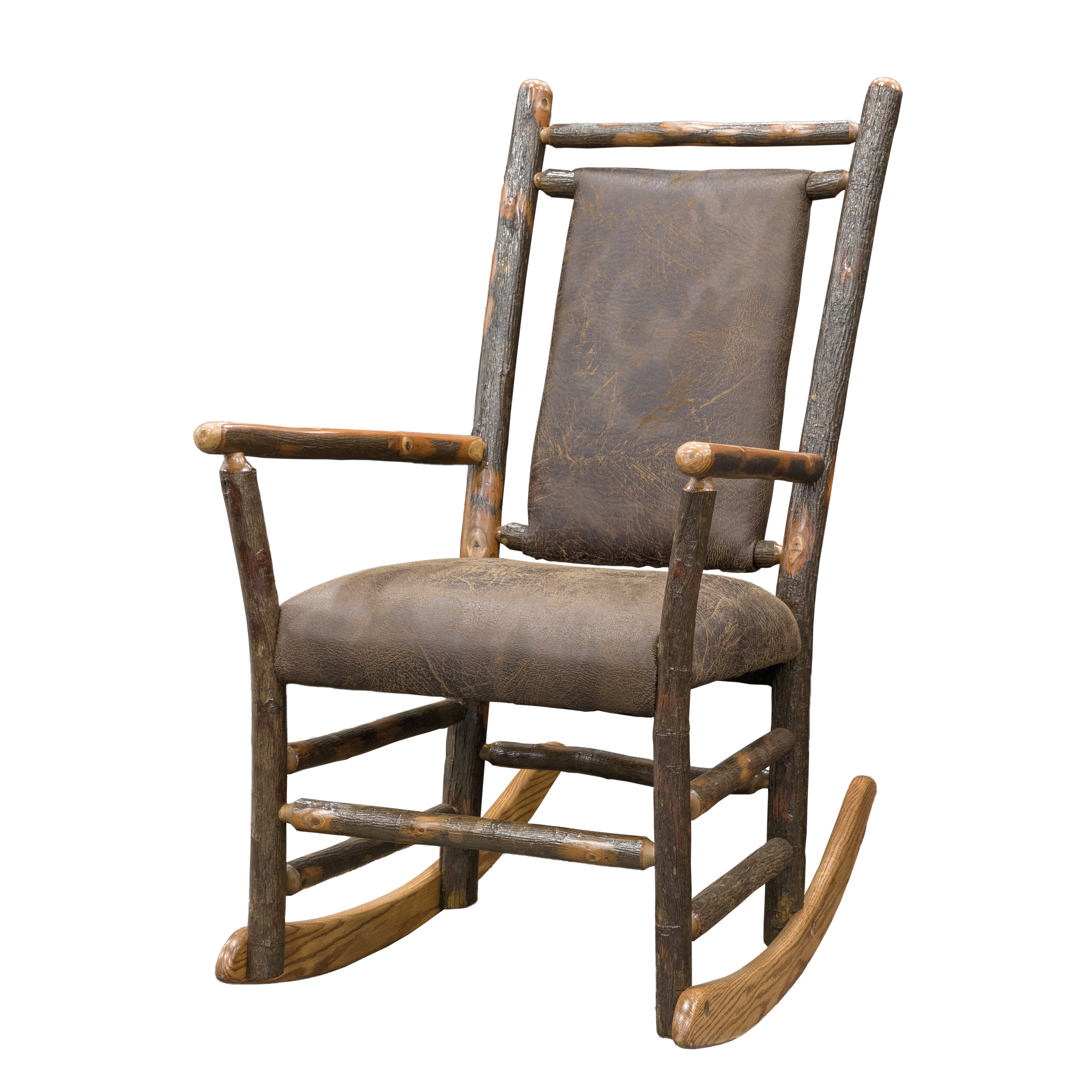 Most Recently Released Rocking Chairs With Lumbar Support In Rustic Hickory Rocking Chair With Faux Brown Leather Seat And Back (View 6 of 20)