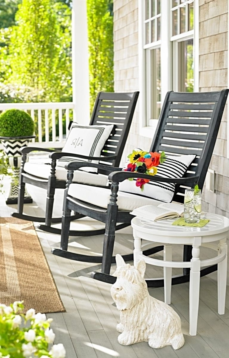 Most Recently Released Small Patio Rocking Chairs With Regard To Furniture Modish Back Slats Durable Polyurethane Finish Seating On (View 6 of 20)