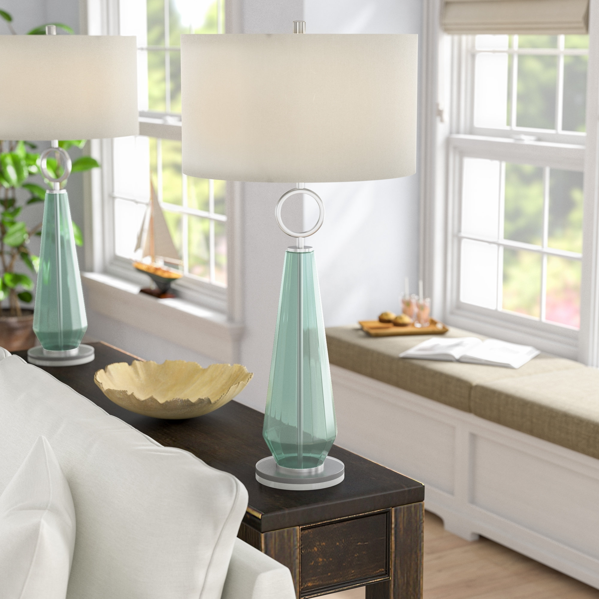 Most Recently Released Transitional Living Room Table Lamps With Beachcrest Home Jaylah Transitional Sea Glass Acrylic And Metal (View 5 of 20)