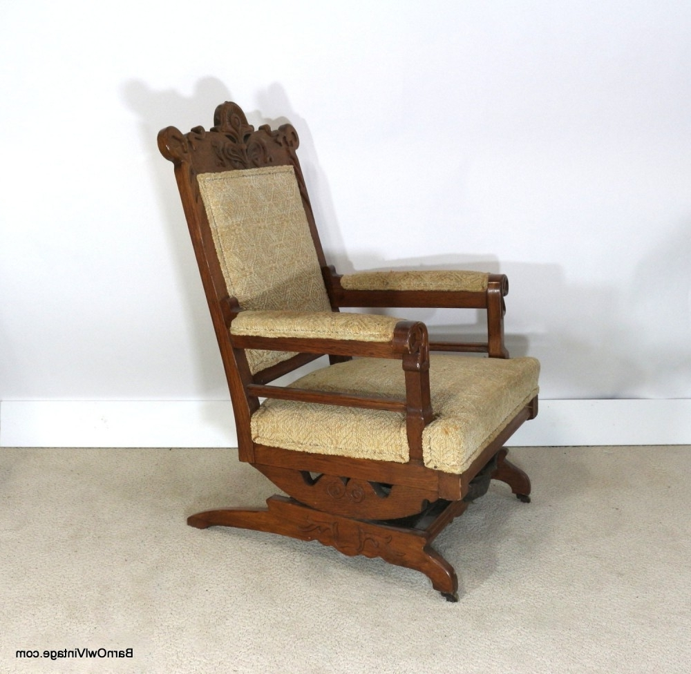 Most Recently Released Victorian Rocking Chairs With Regard To 1880S Rocking Chair, Upholstered Slide Rocker, Pale Yellow (View 8 of 20)