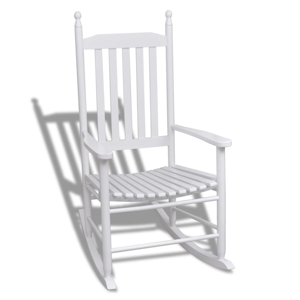 Most Recently Released Vidaxl Wood Rocking Chair White Curved Seat In Garden Chairs From Pertaining To Xl Rocking Chairs (View 14 of 20)