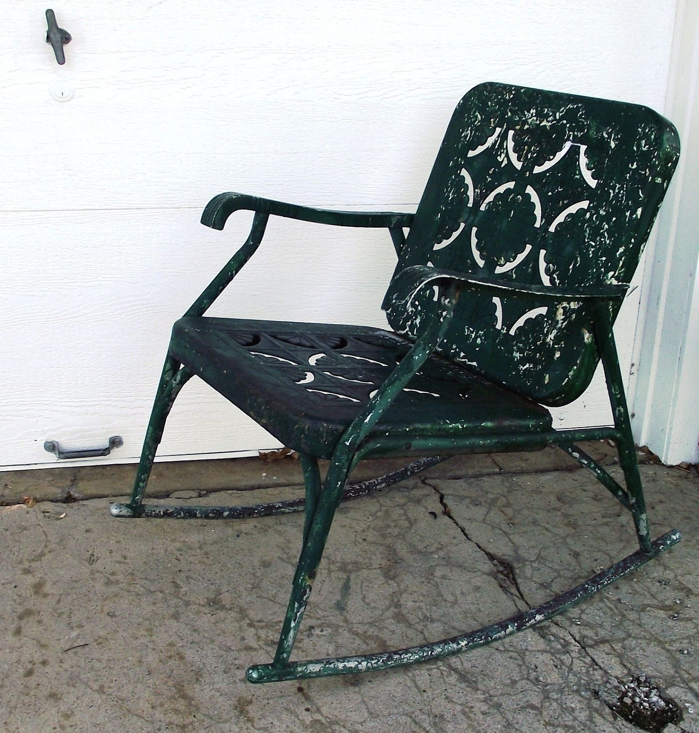 Most Recently Released Vintage Metal Rocking Patio Chairs Intended For Vintage Garden Green Metal Rocking Chair Cutoutjodysvintage (View 12 of 20)